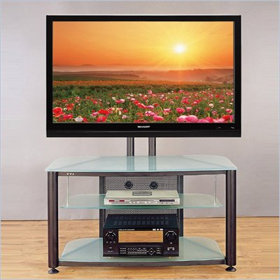 VTI RFR 403 55&quot; Flat Panel TV Stand with Black Frosted Glass