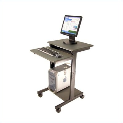 Luxor Height Adjustable Wood / Metal Presentation Workstation in Dark Gray