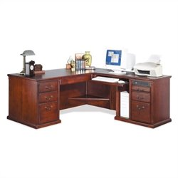 Kathy Ireland Home by Martin Huntington Club RHF L-Shaped Executive Desk in Vibrant Cherry