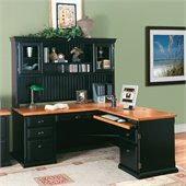 Kathy Ireland Home by Martin Southampton 68 L-Shape Wood Executive Desk in Oynx Black