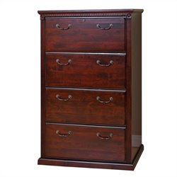 Kathy Ireland Home by Martin Huntington Club 4 Drawer Lateral File in Vibrant Cherry