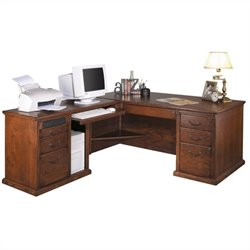 Kathy Ireland Home by Martin Huntington Oxford L-Shape LHF Executive Desk in Burnish