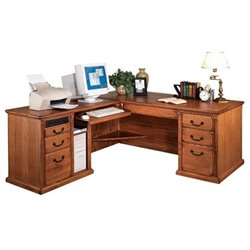 Kathy Ireland Home by Martin Huntington Oxford Left Return Executive Computer Desk Set in Wheat