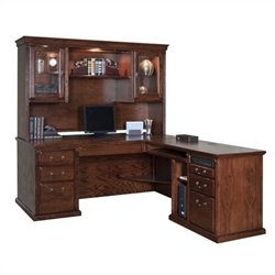 Kathy Ireland Home by Martin Huntington Oxford L-Shape RHF Executive Desk with Hutch in Burnish