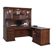 Kathy Ireland Home by Martin Furniture Huntington Oxford Wood L-Shaped Desk Set with Hutch in Burnish