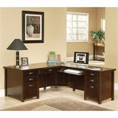 Kathy Ireland Home by Martin Furniture Tribeca Loft Cherry Executive Desk for Right Hand Facing Return