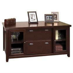 Kathy Ireland Home by Martin Tribeca Loft Cherry Storage Credenza with Sliding Doors