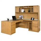 Kathy Ireland Home by Martin Furniture Contemporary L-Shape Wood Home Office Set in Oak