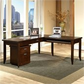 Kathy Ireland Home by Martin Furniture Tribeca Loft L-Shape Wood Writing Desk in Cherry