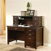 Kathy Ireland Home by Martin Tribeca Loft Pedestal Desk with Hutch in Cherry