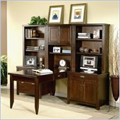 Kathy Ireland Home by Martin Furniture Tribeca Loft Wood Peninsula Home Office Set with Hutch in Cherry