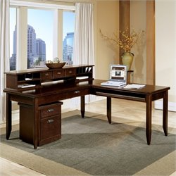 Kathy Ireland Home by Martin Furniture Tribeca Loft L-Shaped Writing Table with Hutch in Cherry
