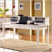 Kathy Ireland Home by Martin Furniture Tribeca Loft White 64 W Writing Table with Long Reception Hutch