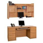 Kathy Ireland Home by Martin Furniture Wood Computer Desk with Hutch in Oak 