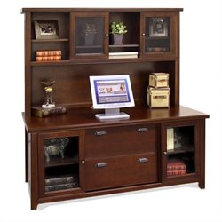 Kathy Ireland Home by Martin Tribeca Loft Wood Credenza with Hutch in Cherry