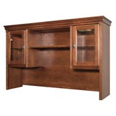 Kathy Ireland Home by Martin Furniture Huntington Oxford Storage Hutch with Pull-Out Task Light Bridge in Burnish