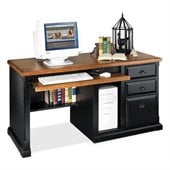 Kathy Ireland By Martin Southampton Office Single Pedestal Computer Desk in Distressed Onyx