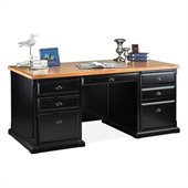 Kathy Ireland By Martin Southampton Office Double Pedestal Executive Desk in Distressed Onyx