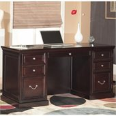 Kathy Ireland by Martin Furniture Space Saver Double Pedestal Wood Computer Desk in Espresso