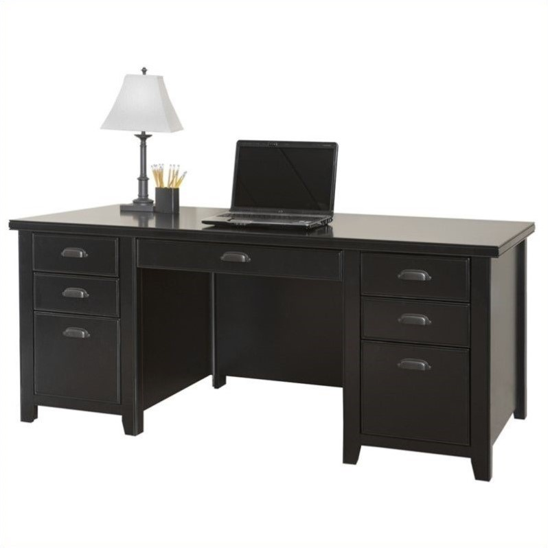 Kathy Ireland Home by Martin Tribeca Loft Double Pedestal Wood Executive Desk in Black