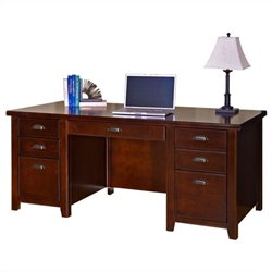 Kathy Ireland Home by Martin Tribeca Loft Double Pedestal Wood Executive Desk in Cherry