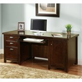 Kathy Ireland Home by Martin Furniture Tribeca Loft Double Pedestal Wood Computer Desk in Cherry