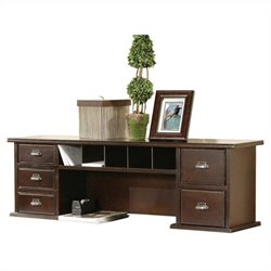 Kathy Ireland Home by Martin Tribeca Loft Cherry Short Reception Desk Hutch