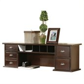 Kathy Ireland Home by Martin Furniture Tribeca Loft Cherry Short Reception Desk Hutch