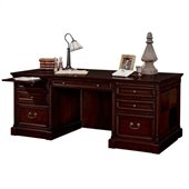 Kathy Ireland Home by Martin Furniture Mount View Double Pedestal Executive Wood Computer Desk in Cherry Cobblestone