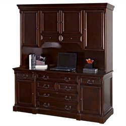 Kathy Ireland Home by Martin Mount View Wood Credenza Desk with Hutch in Cherry