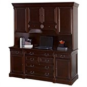Kathy Ireland Home by Martin Furniture Mount View Wood Credenza Desk with Hutch in Cherry