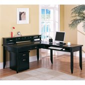 Kathy Ireland Home by Martin Tribeca Loft L-Shape Wood Desk in Black