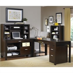 Kathy Ireland Home by Martin Carlton 4 Piece L-Shaped Desk Set in Bourbon