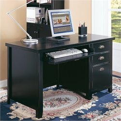Kathy Ireland Home by Martin Tribeca Loft Black Single Pedestal Desk