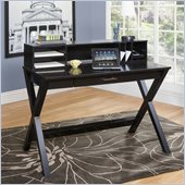 Kathy Ireland by Martin Worx Laptop Writing Desk w/ Hutch in Black