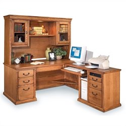Kathy Ireland Home by Martin Huntington Oxford L-Shaped LHF Executive Desk with Hutch in Wheat