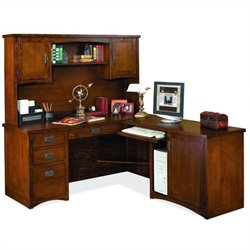 Kathy Ireland Home by Martin Mission Pasadena RHF L-Shape Wood Desk with Hutch