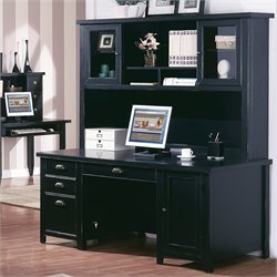 Kathy Ireland Home by Martin Tribeca Loft Double Pedestal Desk with Hutch in Black