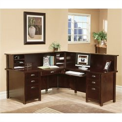 Kathy Ireland Home by Martin Tribeca Loft Cherry RHF L-Shaped Executive Desk with Reception Hutch