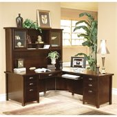 Kathy Ireland Home by Martin Tribeca Loft Cherry RHF L-Shaped Executive Desk with Hutch