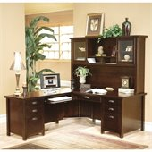Kathy Ireland Home by Martin Tribeca Loft Cherry LHF L-Shaped Executive Desk with Hutch
