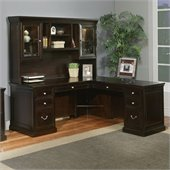 Kathy Ireland Home by Martin Fulton 68 RHF L-Shaped Executive Desk with Hutch in Espresso