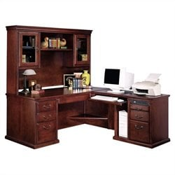 Kathy Ireland Home by Martin Huntington Club RHF L-Shaped Executive Desk with Hutch
