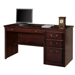 Kathy Ireland Home by Martin Huntington Club Single Pedestal Computer Desk in Vibrant Cherry