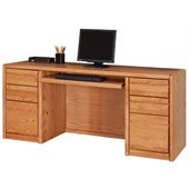Kathy Ireland Home by Martin Furniture Contemporary Solid Wood Credenza Desk in Oak