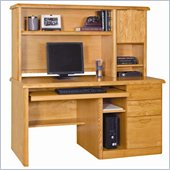 Kathy Ireland Home by Martin Furniture Waterfall Single Pedestal Wood Computer Desk with Hutch in Medium Oak