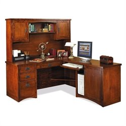 Kathy Ireland Home by Martin Furniture Mission Pasadena L-Shape Wood Home Office Set with Hutch in Mission Cherry