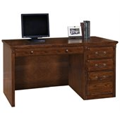 Kathy Ireland Home by Martin Furniture Huntington Oxford Single Pedestal Wood Computer Desk in Burnish
