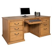 Kathy Ireland Home by Martin Furniture Huntington Oxford Executive 7-Drawer Double Pedestal Wood Computer Desk in Burnish