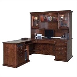 Kathy Ireland Home Oxford L-Shape Executive Desk with Hutch in Burnish